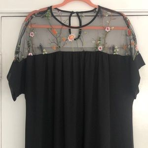 Sheer shoulder Maxi Dress with Floral Embroidery!